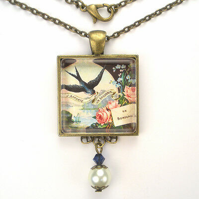 "French Bluebird Roses Bronze Or Silver Pendant Necklace ""vintage Charm"" Jewelry"