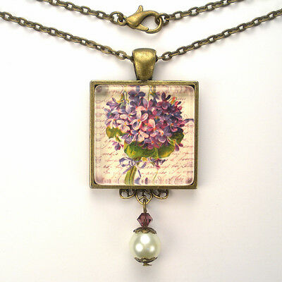 "Purple Violet French Writing Bronze Or Silver Necklace ""vintage Charm"" Jewelry"