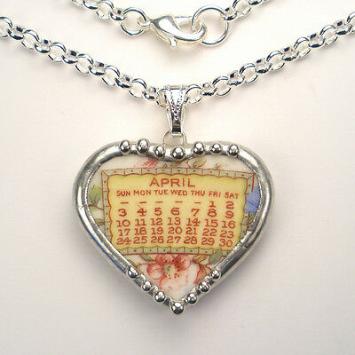 April Necklace Broken China Jewelry Vintage Charm Heart Pendant Handmade