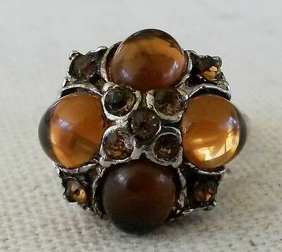 Vintage Topaz Cab Gold Tone Cluster Ring Size 5-1/2 Adjustable 1950s