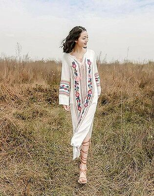 1d8a55561aec Women Floral Embroidered Tunic Hippie Ethnic Boho Long Sleeve Beach Maxi  Dress