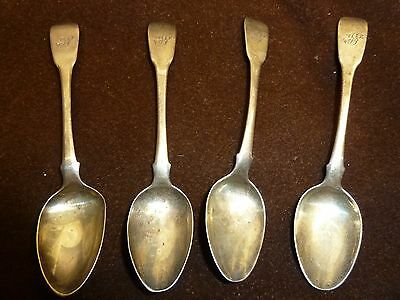 solid silver set of four spoons monogrammed hallmarked 1816 65 grams approx old