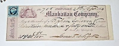 Sep 5 1863 New York Manhattan Company Bank of Savings Check  for $1,941.98