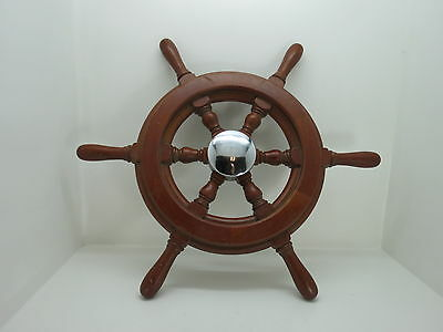 AUTHENTIC 19+1/2 inch CHROME & WOOD BOAT SHIPS WHEEL SAIL (#2322)