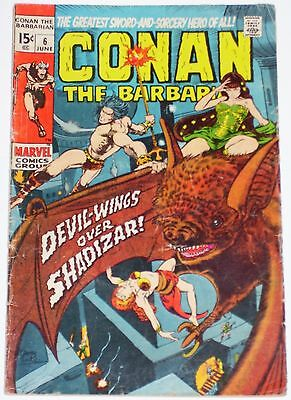 Conan the Barbarian #6 from June 1971 GD/VG to VG