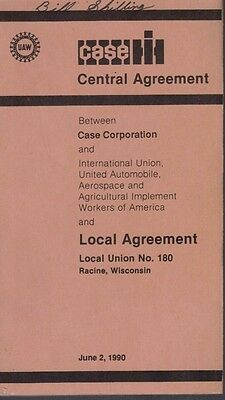 Great J.I. Case Case IH 1990 UAW Central Agreement Booklet Local Union No. 180