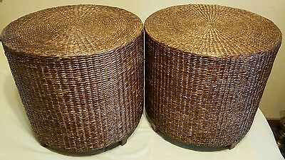 Vintage Pair of Bamboo Rattan Wicker Nightstands End Tables Ottoman/Foot Stool