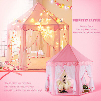 Girls Pink Princess Castle Cute Playhouse Children Kids Play Tent Outdoor Toys