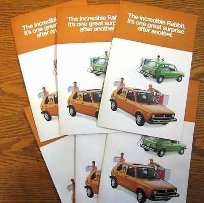 1978 VW Volkswagen Rabbit Dealer Sales Brochure LOT (6) pcs, MINT