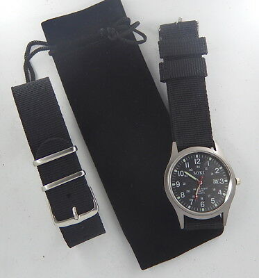 New Military Style Quartz Watch  With Nato G10 Cwc  Nylon Strap  Black