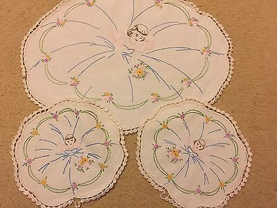 Vintage Hand Embroidered Doily Ballerina - Gorgeous!
