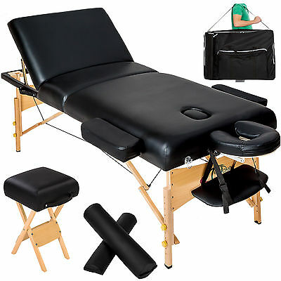 Massagetisch Massagebank Massageliege + Hocker + 2 Lagerungsrollen 10cm Polster