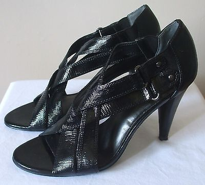 M&S Autograph - Black Leather Open Shoes with Peep Toes & Cuban Heels - Size 6
