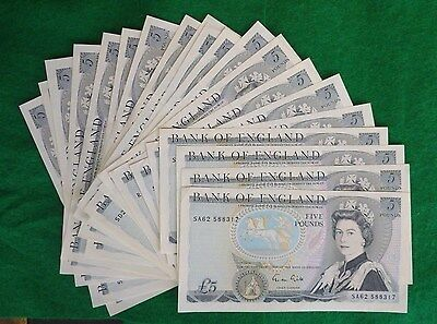 Gill £5 Wellington Blue Five Pound Banknote ( Issued 1988-1991) EF+ B353