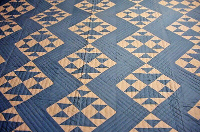 """Near Mint Antique Quilt  Blue And White  88"""" By 75"""" Extremely Well Quilted"""
