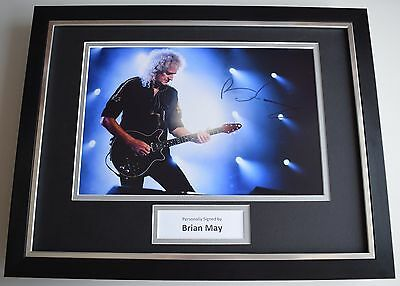 Brian May SIGNED FRAMED Photo Autograph 16x12 display Queen Music AFTAL & COA