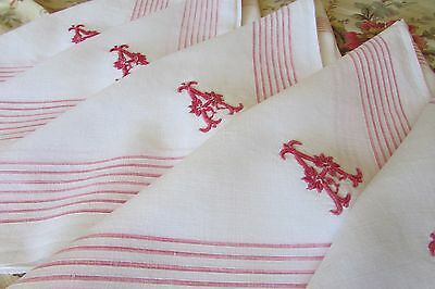 Set 7 Huge Antique French Fine Cotton Red Stripe Handkerchiefs/napkins Mono A