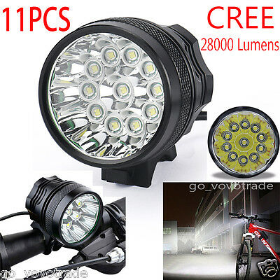 28000Lm 11x CREE T6 LED Headlight Headlamp Waterproof Bike Bicycle Bright Torch