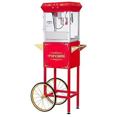 Great Northern Popcorn Co Red 4 Ounce All Star Gnp-400 Popcorn Machine With Cart
