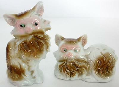 Two Vintage Japan Porcelain Ceramic Brown And White Cat Figurines