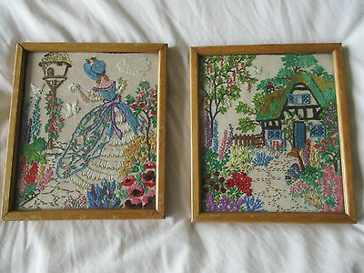 Charming Pair Vintage Embroidery Pictures Crinoline Lady Cottage Garden Flowers