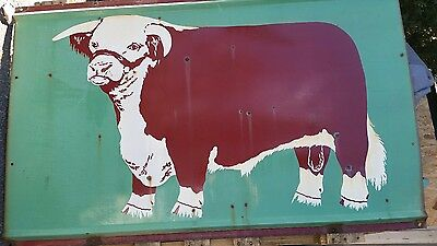 Porcelain sign Texas Hereford sign Ft worth Texas rare double sided