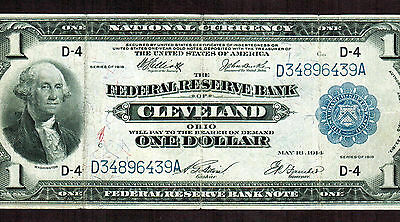 1918  $1 Federal Reserve Note National Currency CLEVELAND MORE CURRENCY FOR SALE