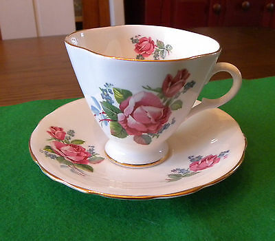 Clarence Bone China Footed Tea Cup & Saucer Made in England