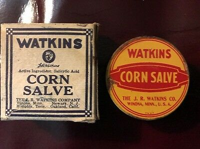 Vintage Watkins Corn Salve 3/8 oz Original Box with Tin