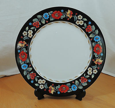VERA Bradley Andrea by Sadek Black Red & Blue Floral Band Dinner Plate