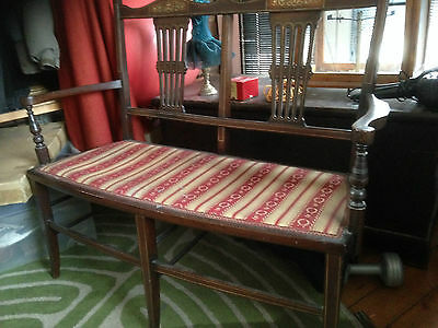 Antique inlaid 2 seater hall settee