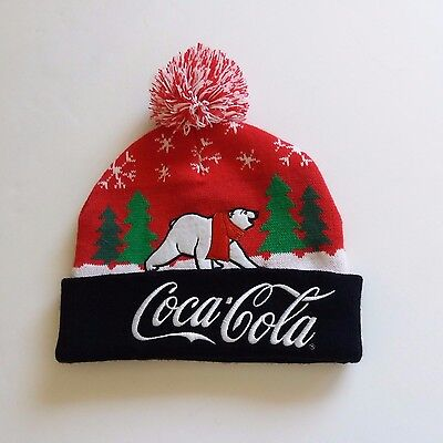 Adult Size Coca Cola Polar Bear Embroidered Knit Beanie Cap Hat ~ New