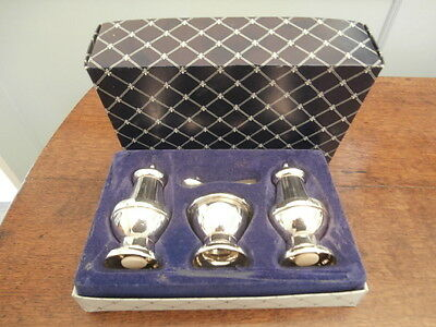 Boxed Lanthe silver plate Georgian style condiment set