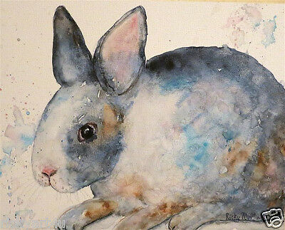 Gray Bunny 11 x 14 inch  Giclee  Print on Watercolor Paper from my Original  Art