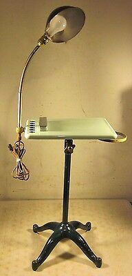 Rare Antique Cast Iron Legs Porcelain Goose Neck Lamp Medical Table Dental Nails