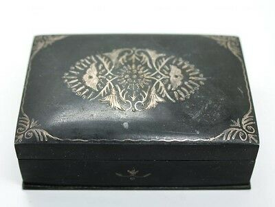 Antique c1900 Victorian Ornate Floral 800 Silver Niello Trinket Box