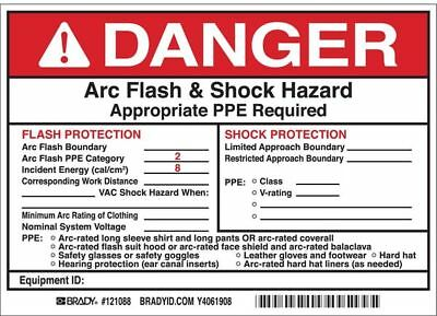 BRADY 121088 Arc Flash Protection Label,5 In. H,PK5
