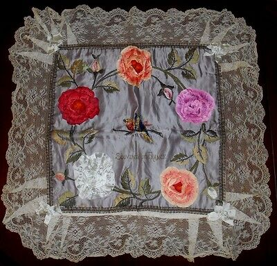 Antique 1914-18 French Souvenir Silk Ribbonwork Rose Lace Pillow Cover 27 x 27""