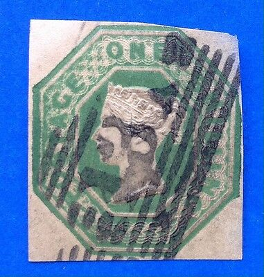 GB Queen Victoria Embossed 1/- Deep Green Cut Square SG 56 (cat £1000)