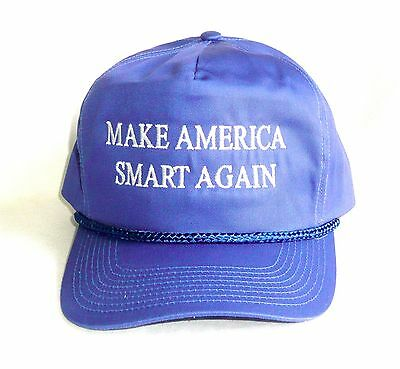 MAKE AMERICA SMART AGAIN HAT Adjustable Embroidered Blue Cap >NEW<