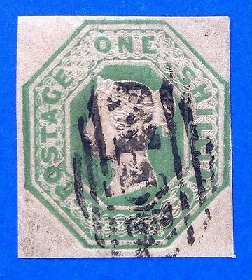 GB Queen Victoria Embossed 1/- Deep Green Cut Square SG 55 (cat £1000)