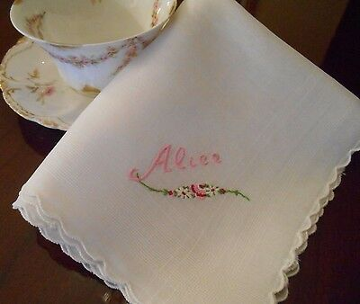 Vintage Hand Embroidered Floral & Personalized ALICE Linen Handkerchief