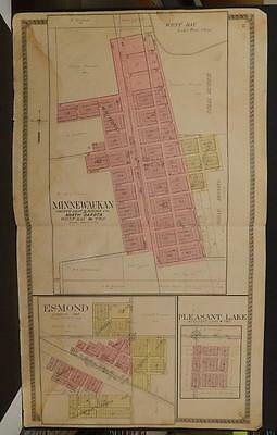 North Dakota Benson County Map Minnewaukan 1910 Double Page  L7#59