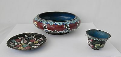 Three Antique Cloisonne Items From China~~Late 1800's
