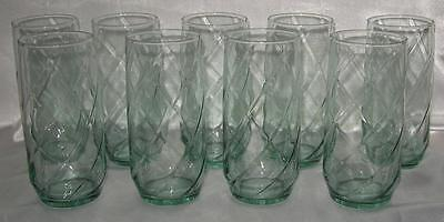 9 Libbey Spanish Green Spiral Tumblers 14 Ounce