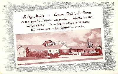 c1960 Baity Motel, Crown Point, Indiana Postcard
