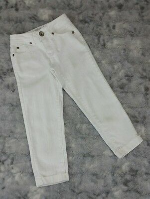 Justice Girls Size 8 S White Cuffed Denim Ankle Jeans