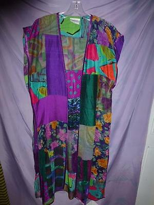 ART TO WEAR Lagenlook Maggie Shepherd Tunic vest patchwork silk top Australia