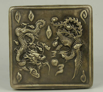 China Collectible Old Handwork Carving Dragon And Phoenix Tibet Silver Box