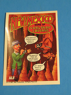 1987 Alf Trading Card Sticker Alf Visits New Mexico Home Of Carlsbad Caverns